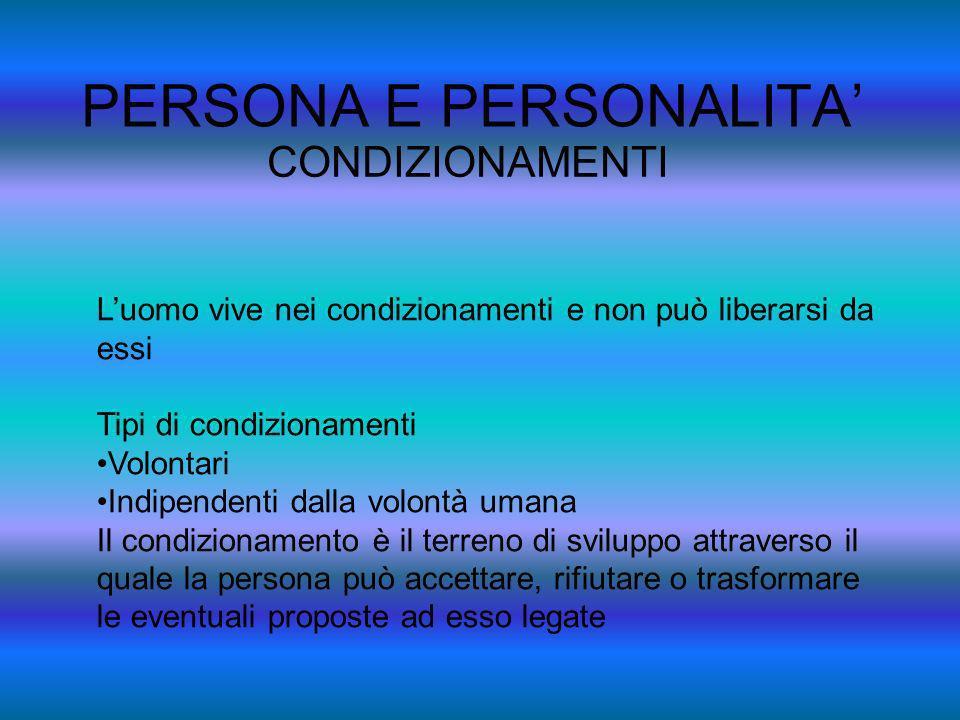PERSONA E PERSONALITA CONDIZIONAMENTI Gli atteggiamenti di fronte al condizionamento Gestione Alienazione La persona è chiamata allimpegno nella gestione delle proprie possibilità