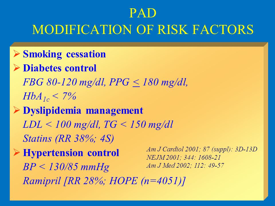 PAD MODIFICATION OF RISK FACTORS Smoking cessation Diabetes control FBG 80-120 mg/dl, PPG < 180 mg/dl, HbA 1c < 7% Dyslipidemia management LDL < 100 m