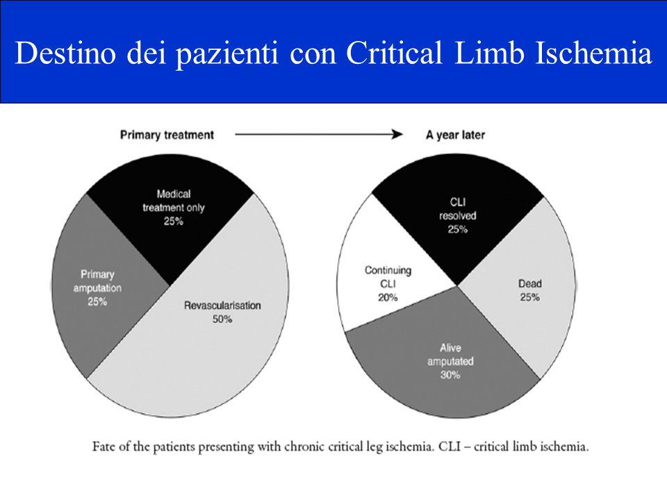 32 non idonei ad intervento di rivascolarizzazione (6.8%) di cui 19 (4%) sottoposti ad amputazione primaria 334 sottoposti ad intervento di rivascolarizzazione (70.7%) 26 in corso di valutazione ed in attesa di ricovero (5.5%) 49 in terapia medica (10.4%) 31 non più seguiti dopo la diagnosi (6.6%) Pazienti diabetici con ischemia critica : 472 Pazienti con CLI seguiti presso il centro Piede Diabetico del Policlinico di Tor Vergata 1/2003 a 8/2007