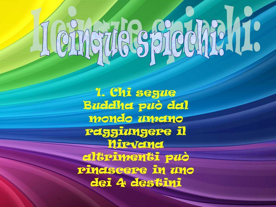 1. Chi segue Buddha può dal mondo umano raggiungere il Nirvana altrimenti può rinascere in uno dei 4 destini