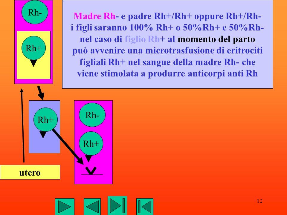 12 Rh+ Rh- Rh+ Madre Rh- e padre Rh+/Rh+ oppure Rh+/Rh- i figli saranno 100% Rh+ o 50%Rh+ e 50%Rh- nel caso di figlio Rh+ al momento del parto può avv