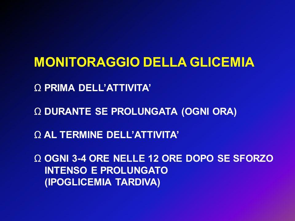 MONITORAGGIO DELLA GLICEMIA PRIMA DELLATTIVITA DURANTE SE PROLUNGATA (OGNI ORA) AL TERMINE DELLATTIVITA OGNI 3-4 ORE NELLE 12 ORE DOPO SE SFORZO INTEN