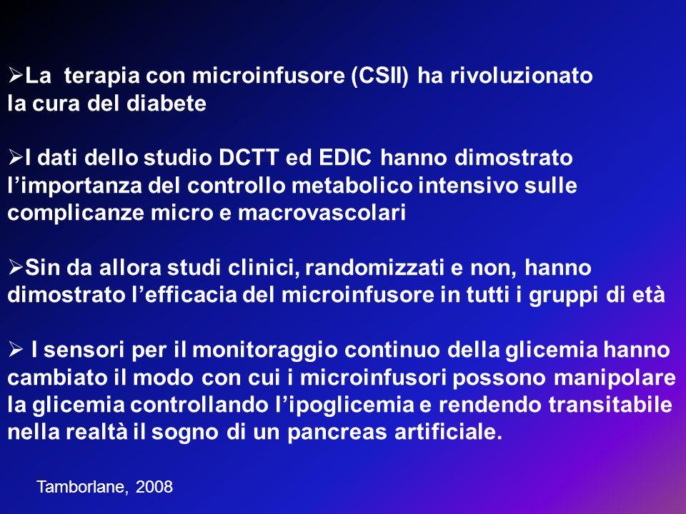 La terapia con microinfusore (CSII) ha rivoluzionato la cura del diabete I dati dello studio DCTT ed EDIC hanno dimostrato limportanza del controllo m