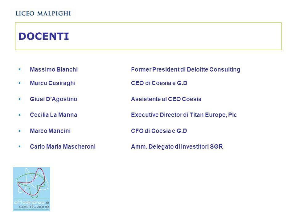 DOCENTI Massimo Bianchi Former President di Deloitte Consulting Marco Casiraghi CEO di Coesia e G.D Giusi DAgostinoAssistente al CEO Coesia Cecilia La