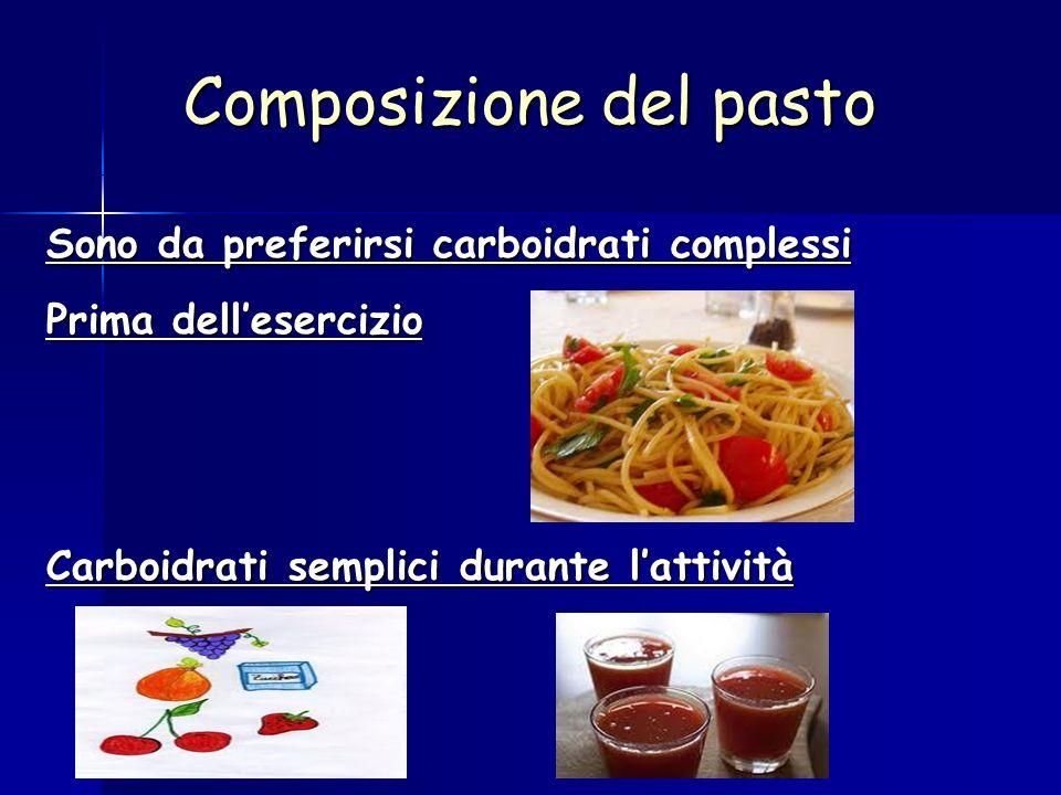 Composizione del pasto Sono da preferirsi carboidrati complessi Prima dellesercizio Carboidrati semplici durante lattività