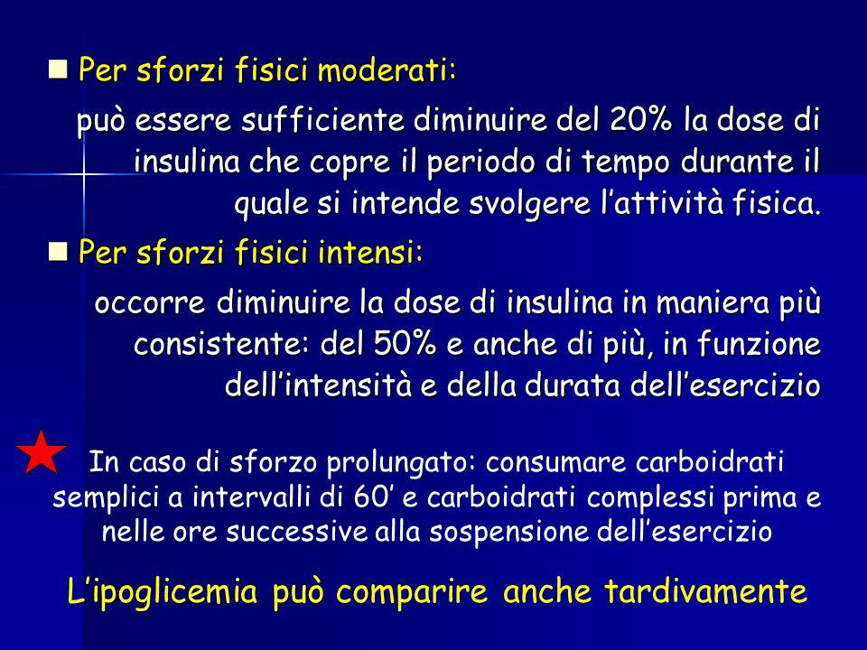 Per sforzi fisici moderati: Per sforzi fisici moderati: può essere sufficiente diminuire del 20% la dose di insulina che copre il periodo di tempo dur