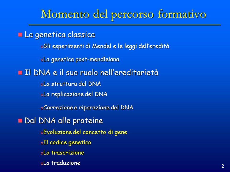 2 Momento del percorso formativo La genetica classica La genetica classica o Gli esperimenti di Mendel e le leggi delleredità o La genetica post-mendl