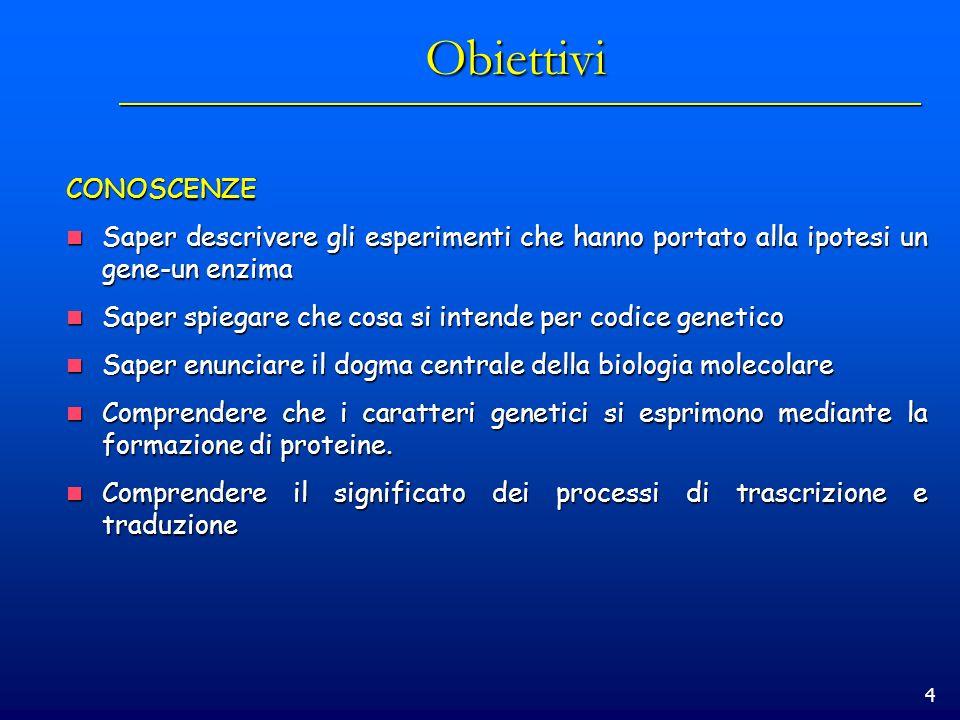 4 Obiettivi CONOSCENZE Saper descrivere gli esperimenti che hanno portato alla ipotesi un gene-un enzima Saper descrivere gli esperimenti che hanno po