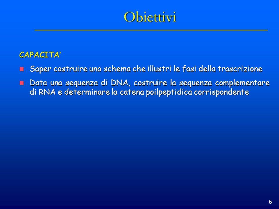 6 Obiettivi CAPACITA Saper costruire uno schema che illustri le fasi della trascrizione Saper costruire uno schema che illustri le fasi della trascriz