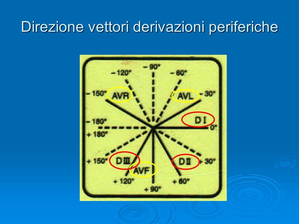 Derivazioni degli arti (o periferiche) Tutte 6 le derivazioni giacciono sul piano frontale Tutte 6 le derivazioni giacciono sul piano frontale I loro