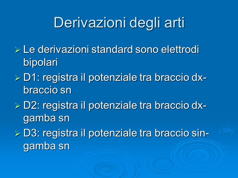 Sistema a 12 derivazioni Derivazioni standard degli arti Derivazioni standard degli arti (DI, DII, DIII) (DI, DII, DIII) Derivazioni degli arti aument