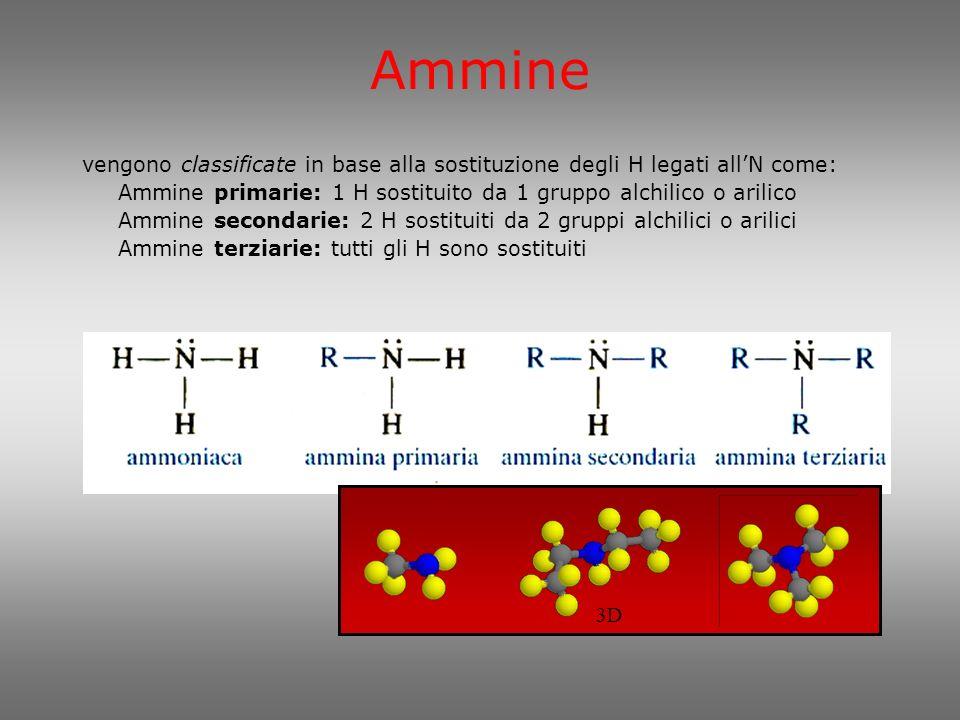 Nomenclatura Ammine alifatiche Ammine legate ad un anello aromatico Ammine alifatiche: gruppo alchilico + ammina 3D In questo sistema, il nome delle ammine secondarie e terziarie è composto da un prefisso che comprende tutte le catene carboniose, ad eccezione di quella più lunga: primarie secondarie terziarie