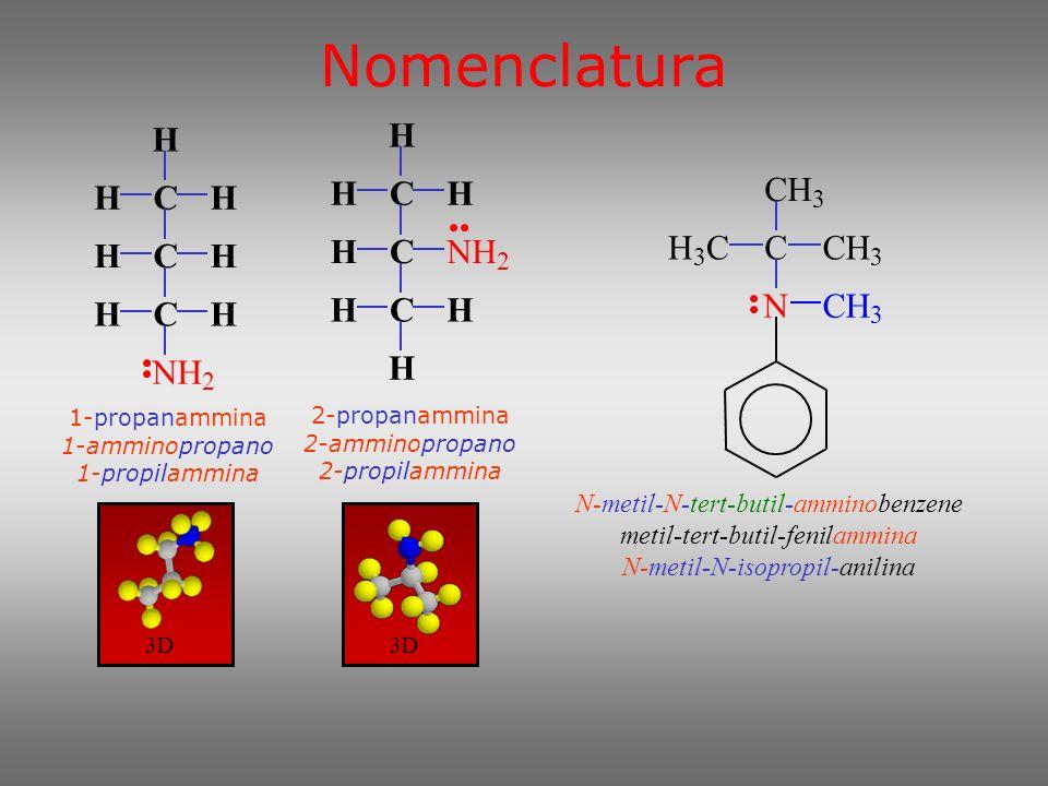 Nomenclatura Se sono presenti altri gruppi funzionali, l amminogruppo viene sempre considerato un sostituente: Le ammine aromatiche sono considerate dei derivati dell anilina.