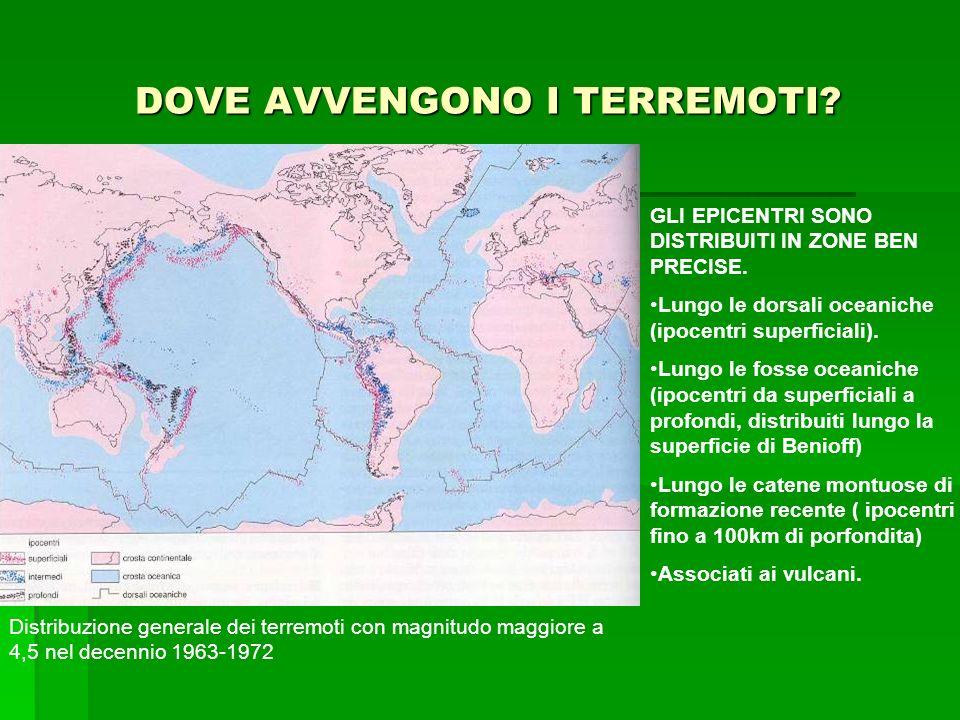 DOVE AVVENGONO I TERREMOTI? Epicentri di 30.000 terremoti registrati nel periodo 1961-1967 (servizio geodetico costiero degli USA) Distribuzione gener