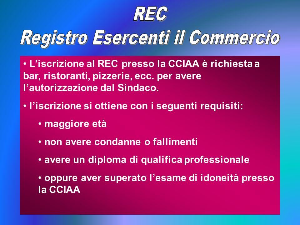 Liscrizione al REC presso la CCIAA è richiesta a bar, ristoranti, pizzerie, ecc. per avere lautorizzazione dal Sindaco. liscrizione si ottiene con i s