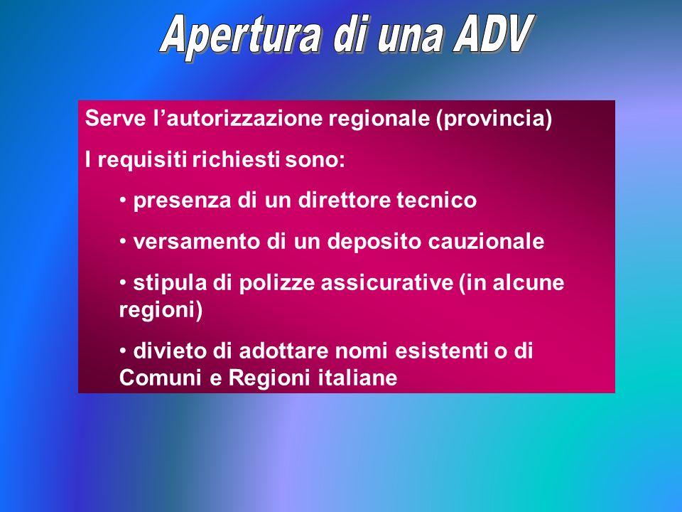 Serve lautorizzazione regionale (provincia) I requisiti richiesti sono: presenza di un direttore tecnico versamento di un deposito cauzionale stipula