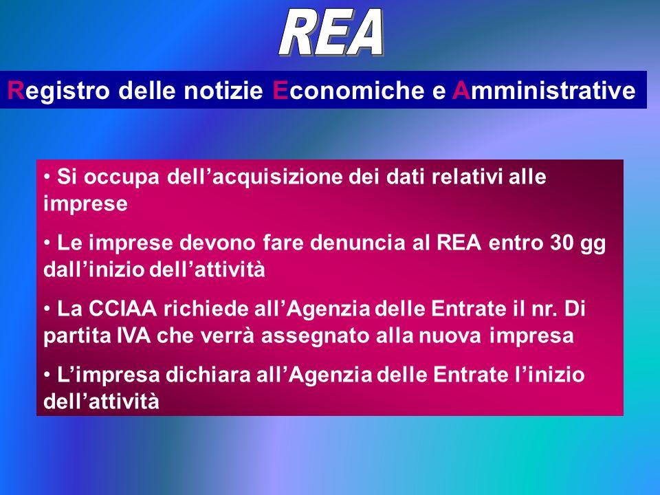 Registro delle notizie Economiche e Amministrative Si occupa dellacquisizione dei dati relativi alle imprese Le imprese devono fare denuncia al REA entro 30 gg dallinizio dellattività La CCIAA richiede allAgenzia delle Entrate il nr.