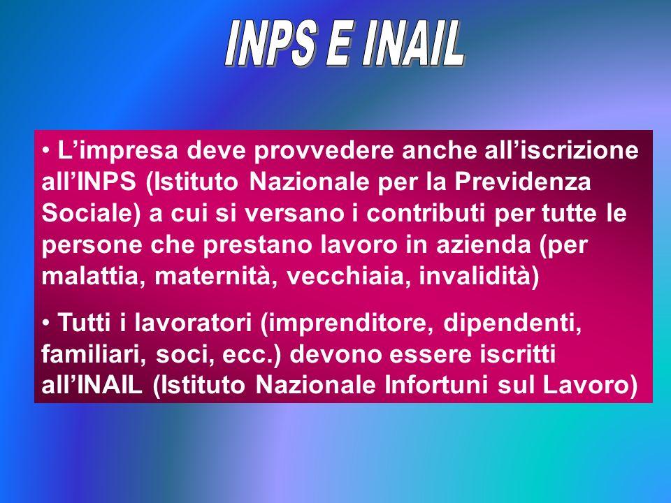 Limpresa deve provvedere anche alliscrizione allINPS (Istituto Nazionale per la Previdenza Sociale) a cui si versano i contributi per tutte le persone