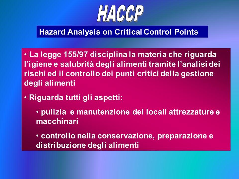 Hazard Analysis on Critical Control Points La legge 155/97 disciplina la materia che riguarda ligiene e salubrità degli alimenti tramite lanalisi dei