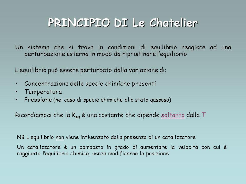 PRINCIPIO DI Le Chatelier Un sistema che si trova in condizioni di equilibrio reagisce ad una perturbazione esterna in modo da ripristinare lequilibri