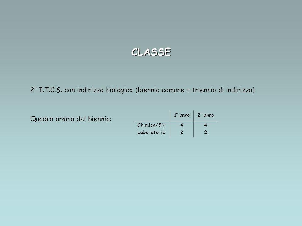 CLASSE 2° I.T.C.S. con indirizzo biologico (biennio comune + triennio di indirizzo) Quadro orario del biennio: 1° anno2° anno Chimica/SN Laboratorio 4