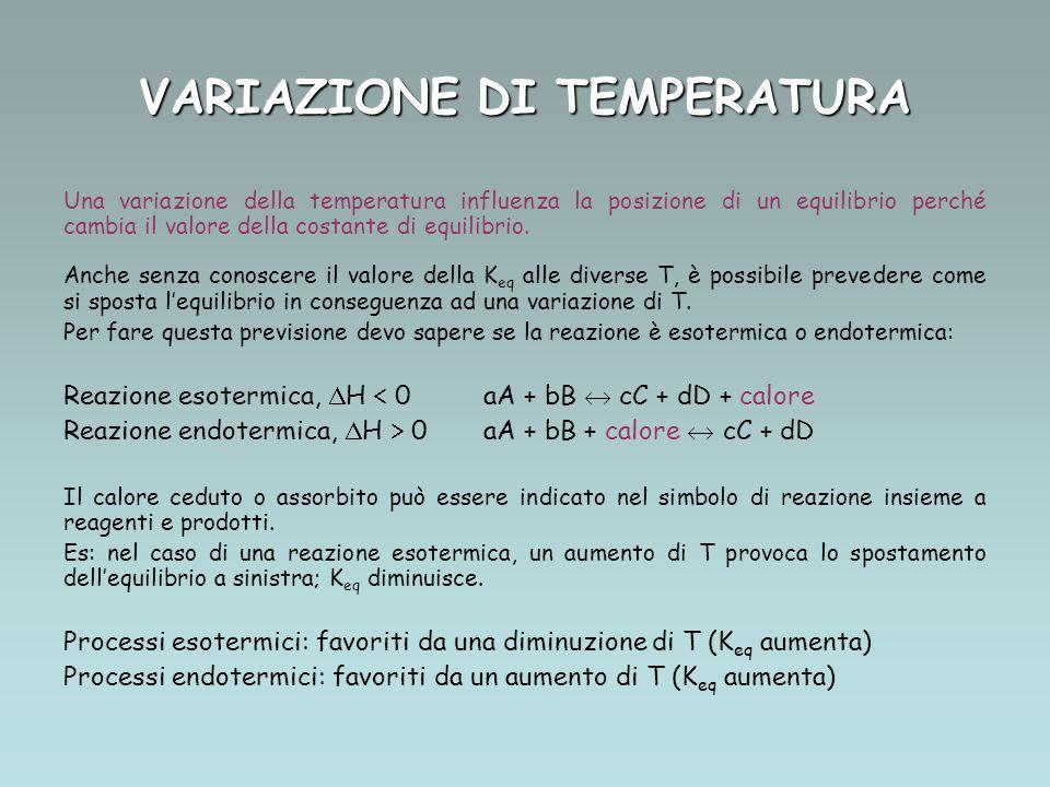 VARIAZIONE DI TEMPERATURA Una variazione della temperatura influenza la posizione di un equilibrio perché cambia il valore della costante di equilibrio.