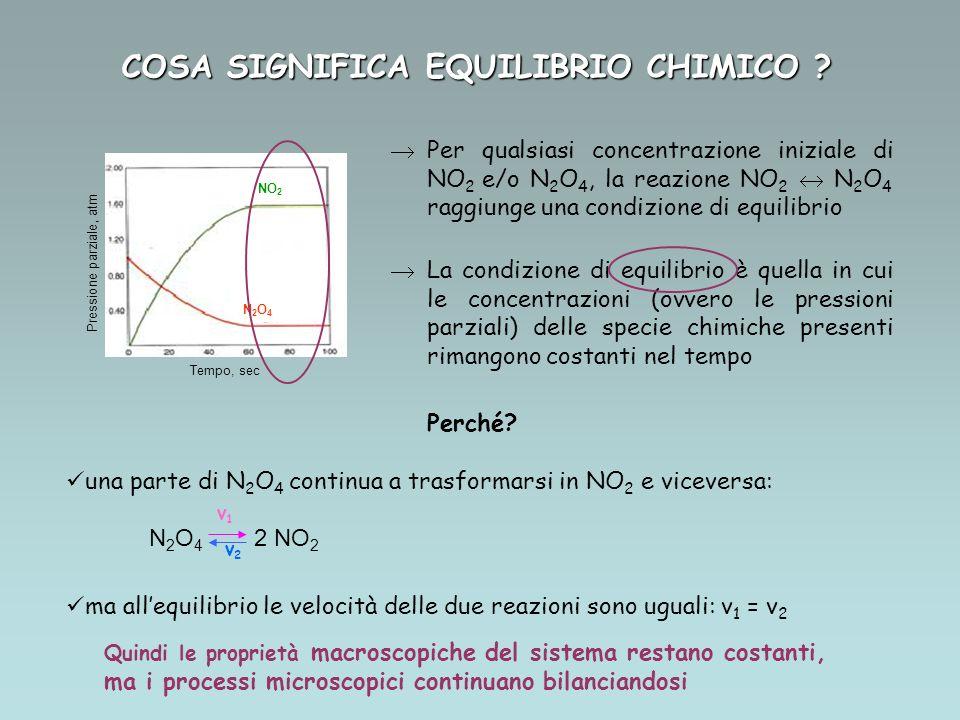 NO 2 N2O4N2O4 Tempo, sec Pressione parziale, atm Per qualsiasi concentrazione iniziale di NO 2 e/o N 2 O 4, la reazione NO 2 N 2 O 4 raggiunge una con