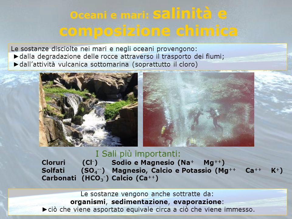 Oceani e mari: salinità e composizione chimica Le sostanze disciolte nei mari e negli oceani provengono: dalla degradazione delle rocce attraverso il