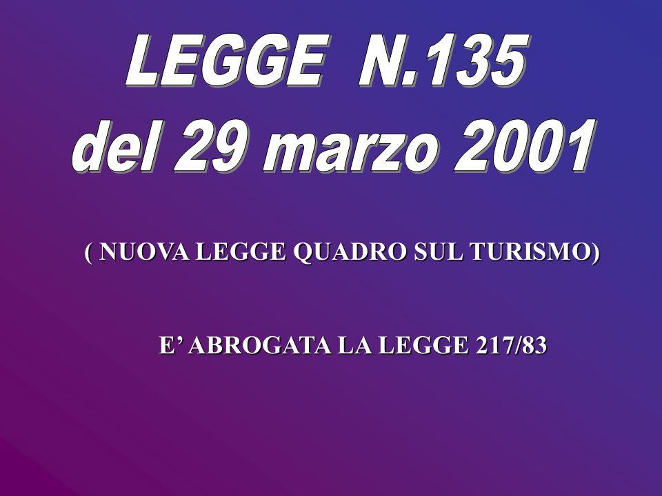 ( NUOVA LEGGE QUADRO SUL TURISMO) E ABROGATA LA LEGGE 217/83