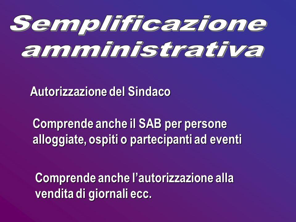 Autorizzazione del Sindaco Comprende anche il SAB per persone alloggiate, ospiti o partecipanti ad eventi Comprende anche lautorizzazione alla vendita