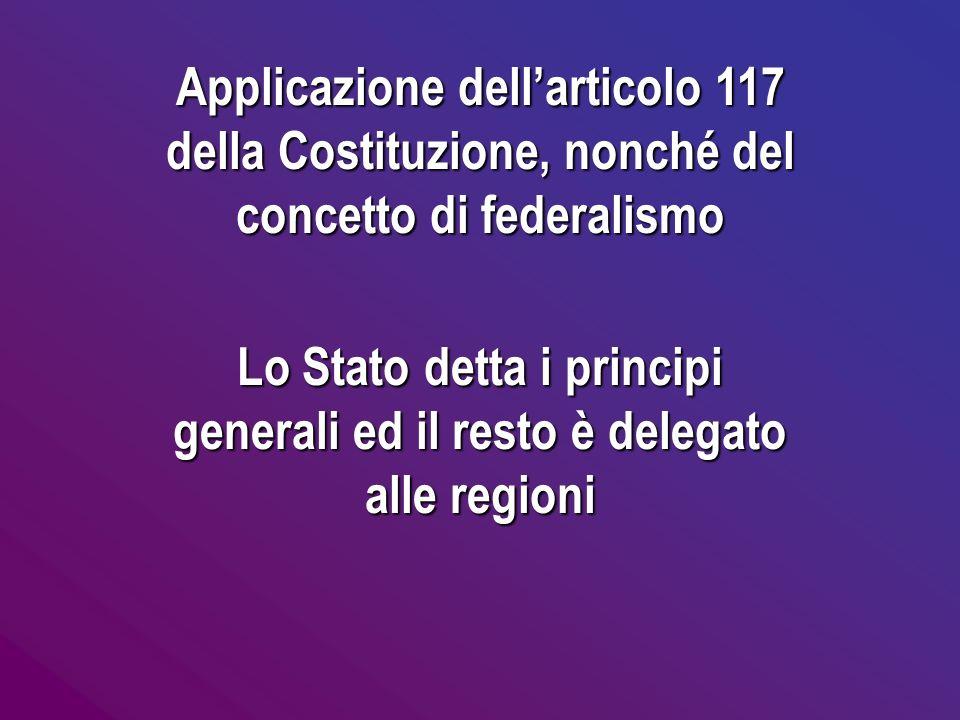 Applicazione dellarticolo 117 della Costituzione, nonché del concetto di federalismo Lo Stato detta i principi generali ed il resto èè èè delegato all