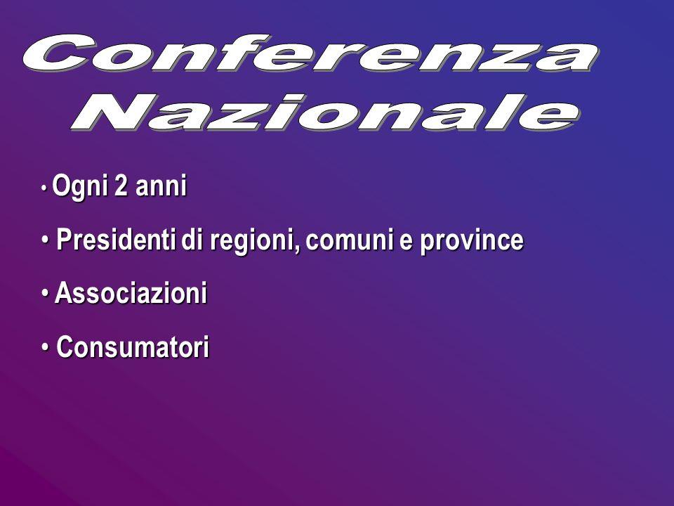Ogni 2 anni Presidenti di regioni, comuni e province Associazioni Consumatori