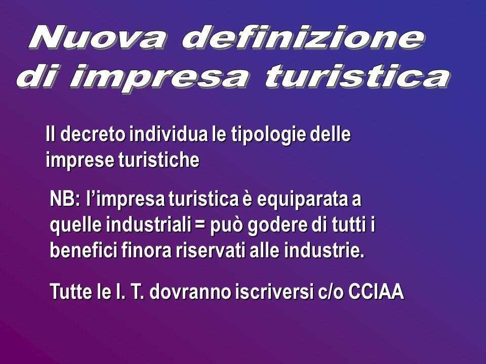 Il decreto individua le tipologie delle imprese turistiche NB: limpresa turistica è equiparata a quelle industriali = può godere di tutti i benefici f