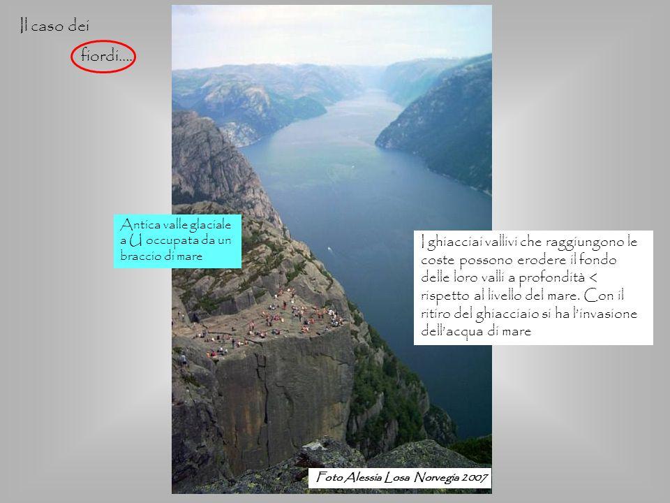 Foto Alessia Losa Norvegia 2007 Il caso dei fiordi…. Antica valle glaciale a U occupata da un braccio di mare I ghiacciai vallivi che raggiungono le c