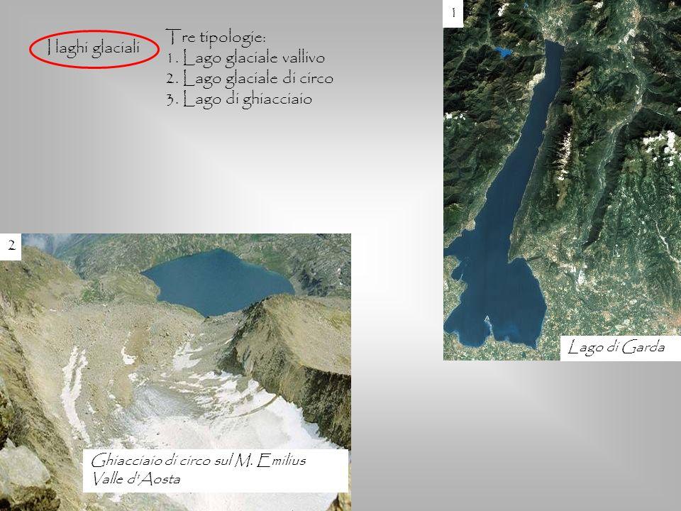 I laghi glaciali Tre tipologie: 1. Lago glaciale vallivo 2. Lago glaciale di circo 3. Lago di ghiacciaio 2 Ghiacciaio di circo sul M. Emilius Valle d'