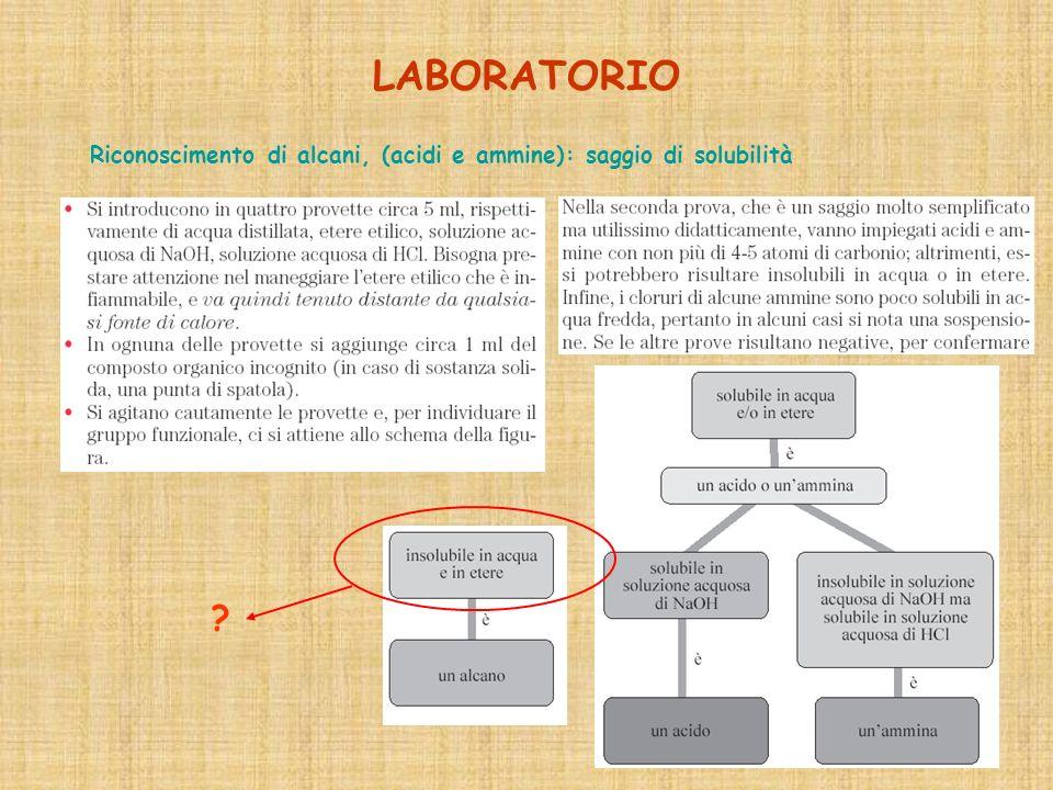 LABORATORIO Riconoscimento di alcani, (acidi e ammine): saggio di solubilità ?