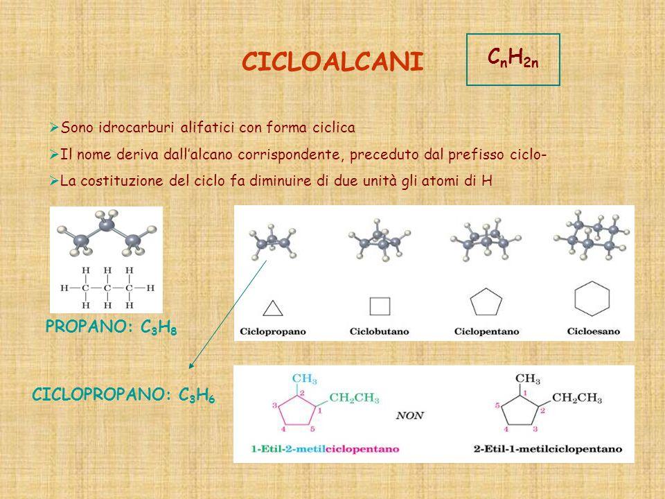 CICLOALCANI Sono idrocarburi alifatici con forma ciclica Il nome deriva dallalcano corrispondente, preceduto dal prefisso ciclo- La costituzione del c