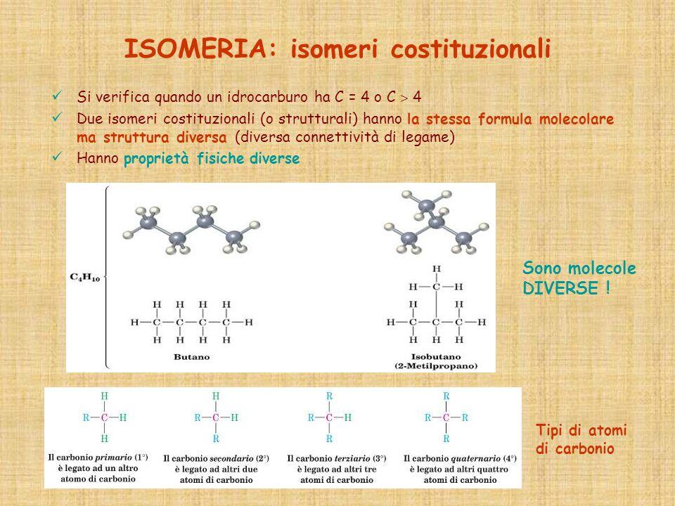 ISOMERIA: isomeri costituzionali Si verifica quando un idrocarburo ha C = 4 o C 4 Due isomeri costituzionali (o strutturali) hanno la stessa formula m