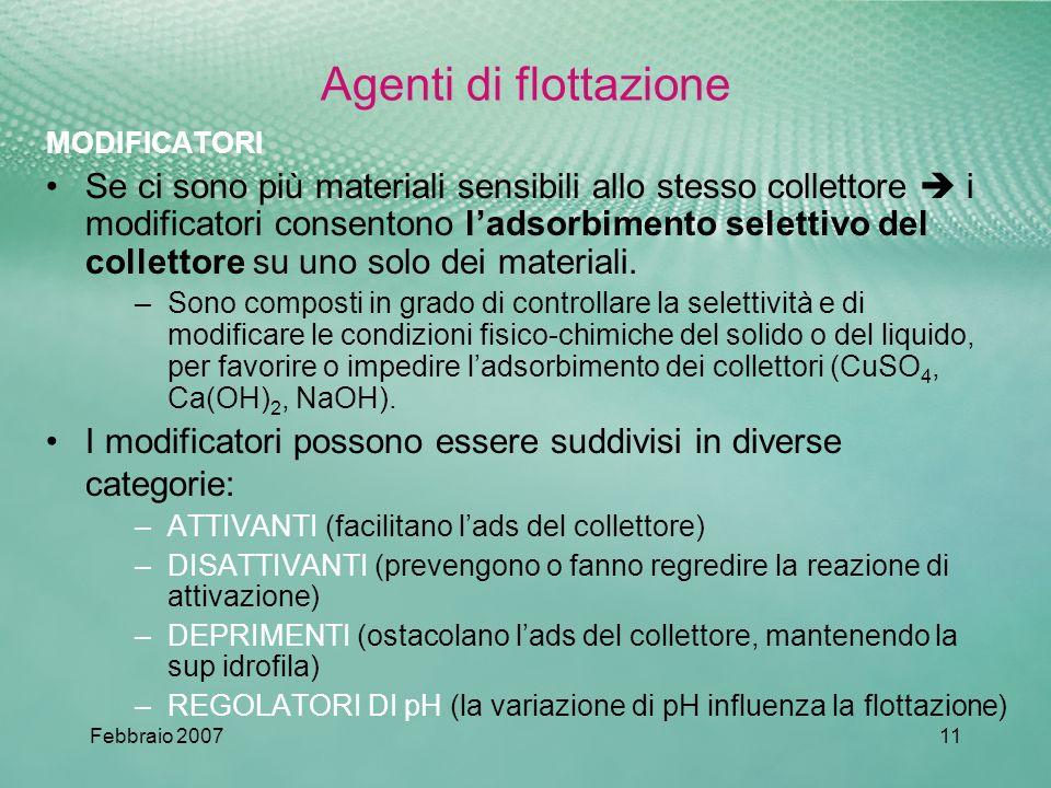 Febbraio 200711 Agenti di flottazione MODIFICATORI Se ci sono più materiali sensibili allo stesso collettore i modificatori consentono ladsorbimento selettivo del collettore su uno solo dei materiali.
