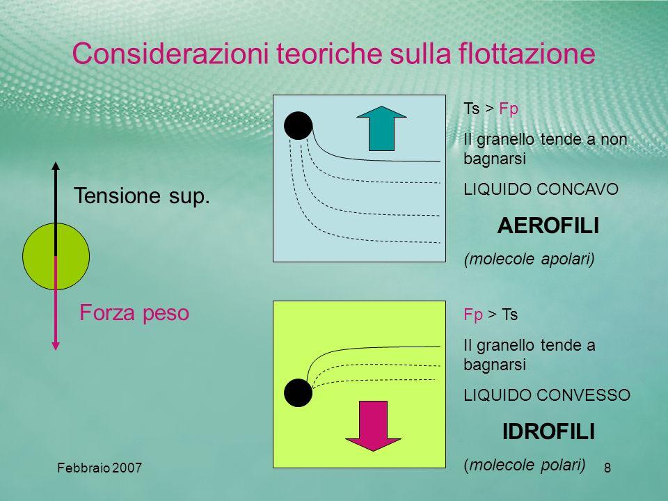 Febbraio 20078 Considerazioni teoriche sulla flottazione Tensione sup.