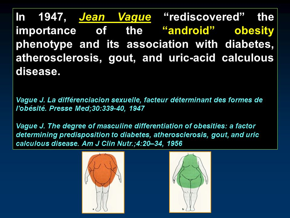 In 1947, Jean Vague rediscovered the importance of the android obesity phenotype and its association with diabetes, atherosclerosis, gout, and uric-ac
