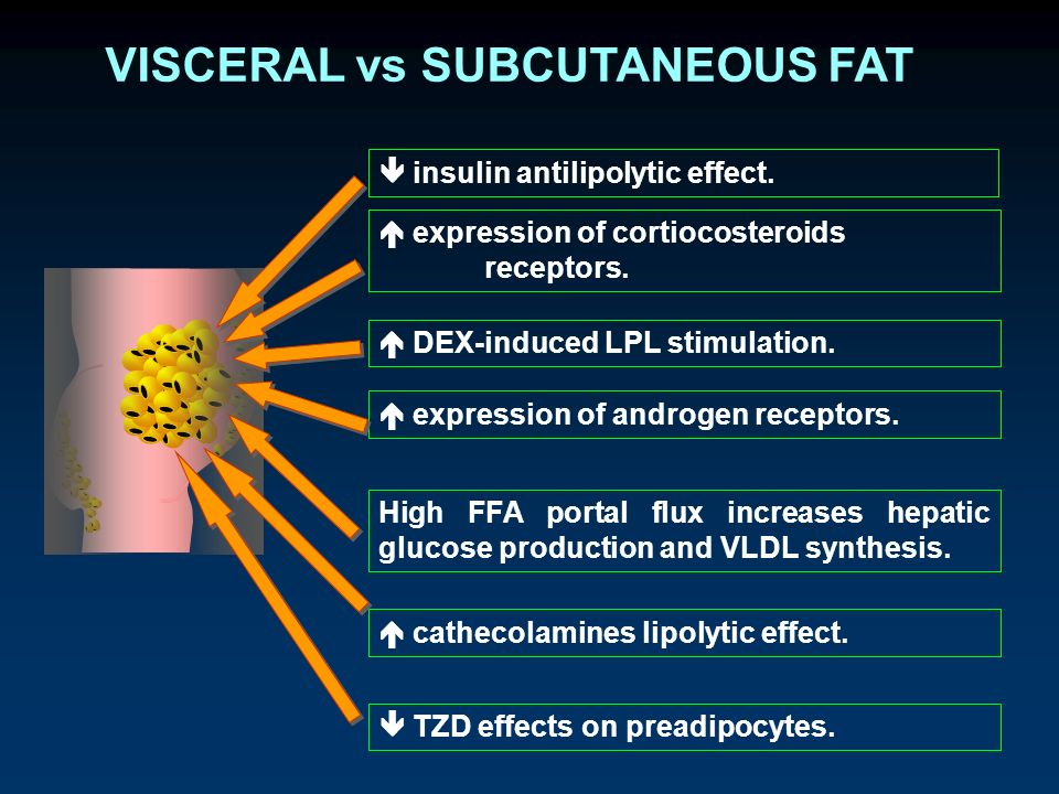 VISCERAL vs SUBCUTANEOUS FAT insulin antilipolytic effect.