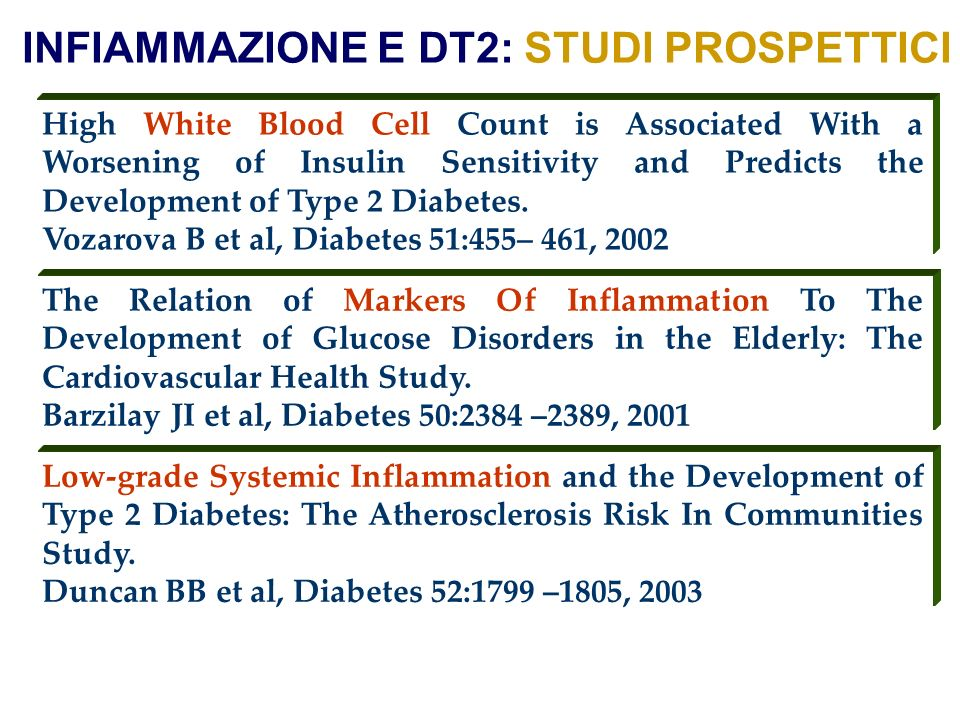 INFIAMMAZIONE E DT2: STUDI PROSPETTICI High White Blood Cell Count is Associated With a Worsening of Insulin Sensitivity and Predicts the Development of Type 2 Diabetes.