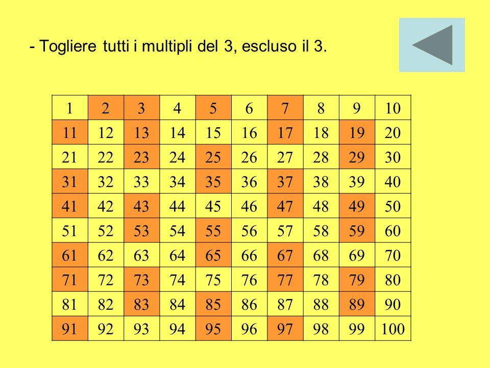 - Togliere tutti i multipli del 3, escluso il 3. 12345678910 11121314151617181920 21222324252627282930 31323334353637383940 41424344454647484950 51525