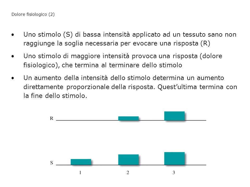 Uno stimolo (S) di bassa intensità applicato ad un tessuto sano non raggiunge la soglia necessaria per evocare una risposta (R) Uno stimolo di maggior