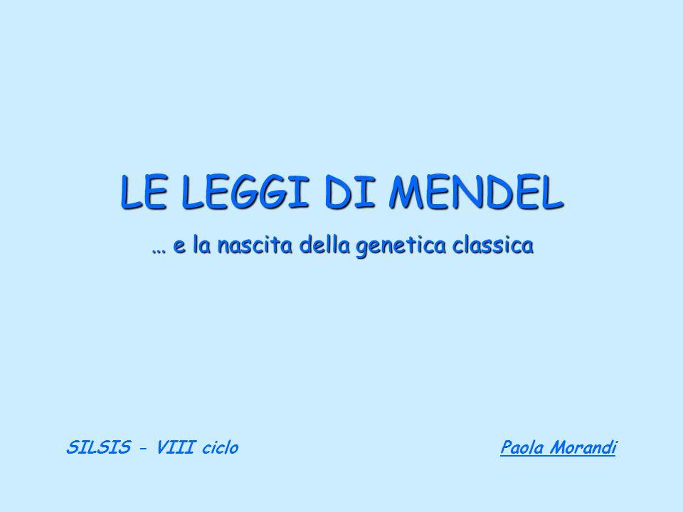 LE LEGGI DI MENDEL … e la nascita della genetica classica SILSIS - VIII ciclo Paola Morandi