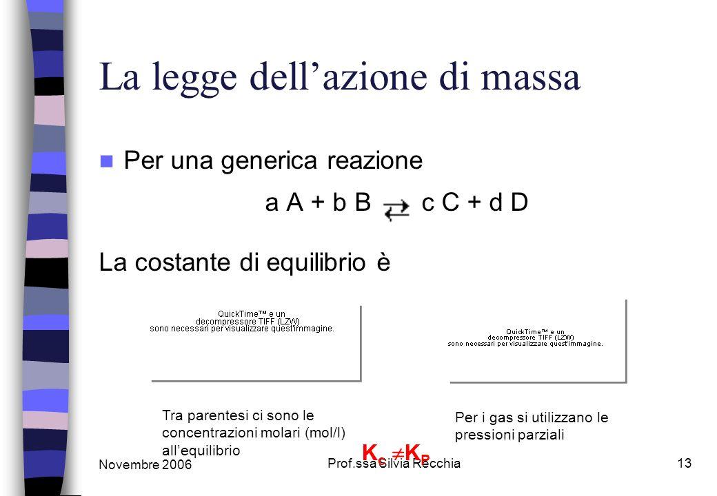 Novembre 2006 Prof.ssa Silvia Recchia13 La legge dellazione di massa Per una generica reazione a A + b B c C + d D La costante di equilibrio è Tra parentesi ci sono le concentrazioni molari (mol/l) allequilibrio Per i gas si utilizzano le pressioni parziali K c K P