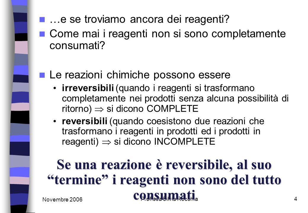 Novembre 2006 Prof.ssa Silvia Recchia4 Se una reazione è reversibile, al suo termine i reagenti non sono del tutto consumati …e se troviamo ancora dei reagenti.