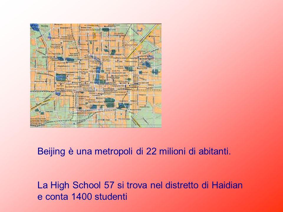 Beijing è una metropoli di 22 milioni di abitanti. La High School 57 si trova nel distretto di Haidian e conta 1400 studenti