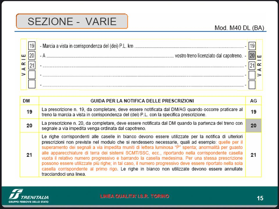 15 LINEA QUALITA I.S.R. TORINO